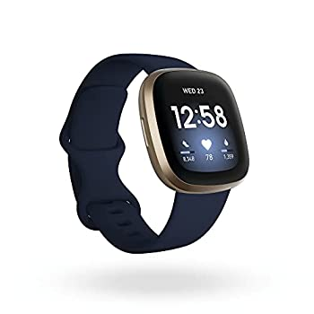Fitbit Versa 3 Health & Fitness Smartwatch with GPS 24/7 Heart Rate Alexa Built-in 6+ Days Battery Midnight Blue/Gold One Size  S & L Bands Included