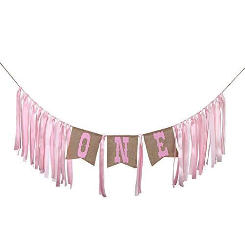 LOVIVER Rustic Burlap Fabric One Rag Tied Banner Garland For Baby 1st Birthday Party - Pink, 2 Meters