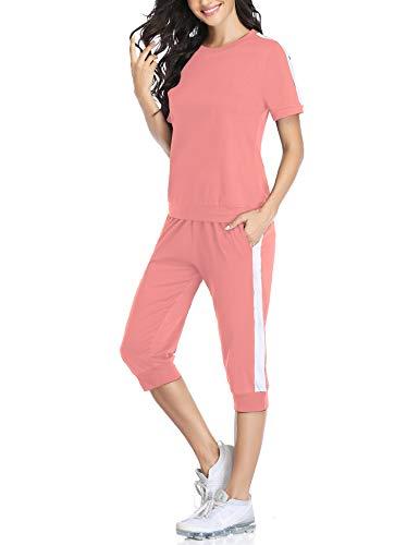 Aibrou Sportivo Abbigliamento 2 Pezzi Camicie con Manica Corta e Pantaloni Cropped Estivi Sottili Elasticizzati Estive Moda Casual