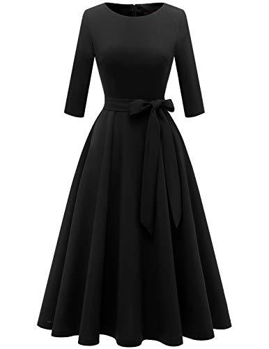 DRESSTELLS Damen elegant Abendkleid Langarm Festliches Partykleid Brautmutterkleid mit Gurtel Retro Faltenrock Knielang Midilang Black S