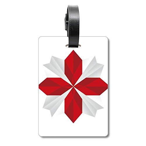 Etiqueta de identificación para Maleta, diseño de Flores de Origami de Navidad Abstracta