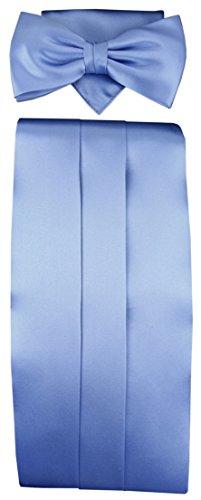 TigerTie TigerTie Kummerbund Einstecktuch Fliege 100% Seide in blau hellblau brillantblau - Schärpe Leibbinde
