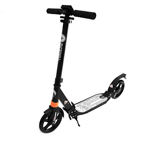 BLOODYRIPPA Folable Kick Scooter for Adults and Kids, Quick-Release Adjustable Height Handlebars, Spring Return Kickstand, 220 lbs Capacity, Black