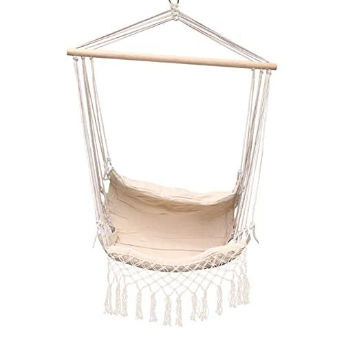 Silla de hamaca para colgar silla de algodón suave con cuerda de tejido de madera dura, barra ancha de columpio de encaje para interiores y exteriores, jardín o patio temático