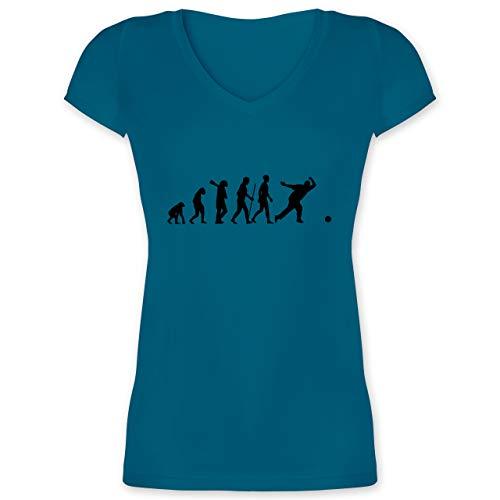 Evolution - Bowling & Kegel Evolution - XL - Türkis - Bowlingkugel - XO1525 - Damen T-Shirt mit V-Ausschnitt