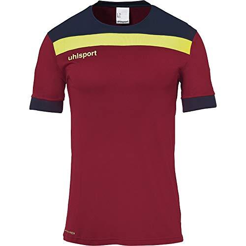 uhlsport Herren Offense 23 Trikot Kurzarm Fussball Trainingsbekleidung, Bordeaux/Marine/Fluo gelb, L