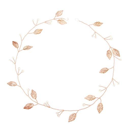 Minkissy Corona de hojas para el pelo de novia para dama de...