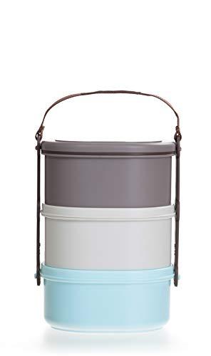 LOCK & LOCK Picknick Box Set klein mit Transport-Henkel & Hülle - 3er Lunchbox - Vesperdosen bpa-frei - 3 Design Picknickboxen stapelbar & tragbar