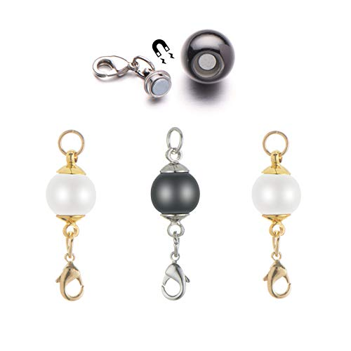 Zpsolution 12mm Pearl Magnetic Jewelry Clasps for Pearl Necklaces and Bracelets Converter - Easy On and Quick Release Pearl Necklace Bracelet Jewelry for Arthritis