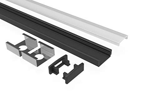Tivendis Led Alu Profil 2 m AF2schwarz Komplett Set für Strip/Streifen bis 12 mm breit | Abdeckung satiniert milchig, Endkappen, Befestigungclips | U-Form Aufputz Deckenleiste Wandprofil pulverbesch