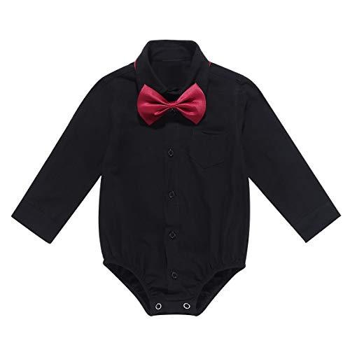 iEFiEL Baby Jungen Hemdbody mit Kragen und Fliege Langarm/Kurzarm Overall Baumwolle Strampler Weiß Hemd für Kleinkinder X Schwarz Langarmbody 86