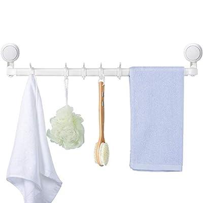 Urbanstrive 21-Inch 10-Towel Suction Cup Bathroom Towel Bar Bath Wall Shelf Towel Rack Hanging Towel Hanger Contemporary Style, NO Drilling, White