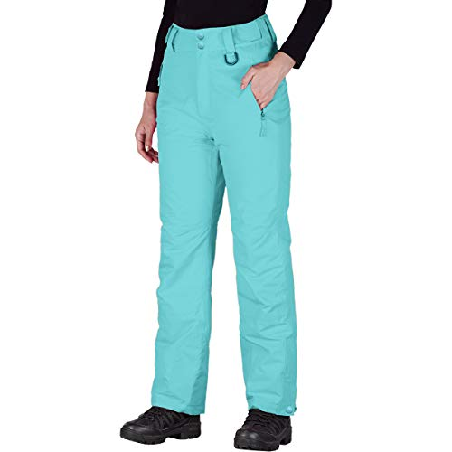 FREE SOLDIER Women's Outdoor Snow Ski Insulated Pants Windproof Waterproof Breathable Pants for Snowboarding (Mint X-Small(0-2)/32L)