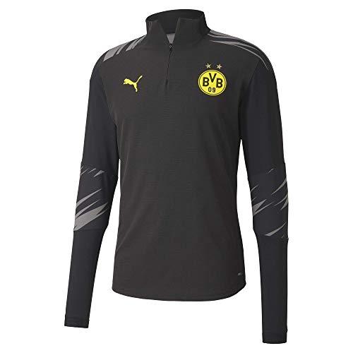 PUMA Herren T-Shirt BVB Stadium 1/4 Zip Top, Puma Black-Asphalt-Home, M, 758139