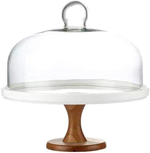 Soporte para tarta Placa de fruta placa de cerámica con tapa, bandeja de carne de pan fácil de limpiar cúpula de vidrio boda boda boda exhibición soporte polvo cubierta cocina ensalada placa de ensala