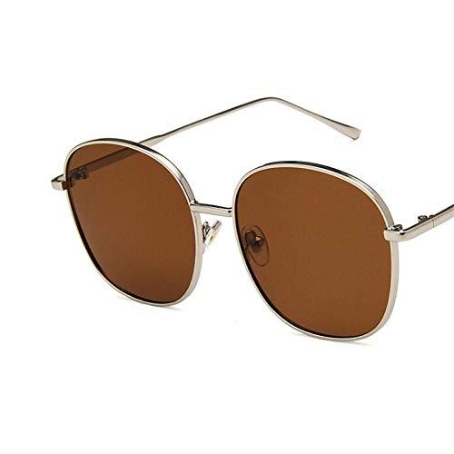 DLSM Gafas de Sol Gafas de Sol Mujer Aleación Square Gafas de Sol Hombres Metal Gradient Pink Sun Glass Vintage Espejo Vintage de Gran tamaño-Té Plateado