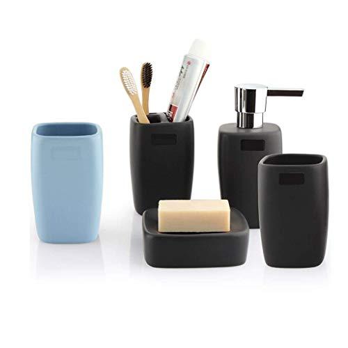 Dispensador de jabón Juego de accesorios de baño de 5 piezas Juego de cerámica de aspecto mate que incluye: Dispensador de loción Soporte para cepillo de dientes Jabonera y 2 vasos de enjuag