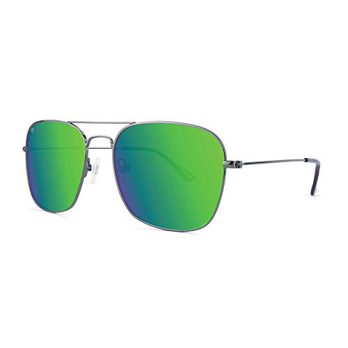Knockaround Mount Evans Polarized Squared Aviator Sunglasses With Silver Metal Frames/Green Reflective Lenses