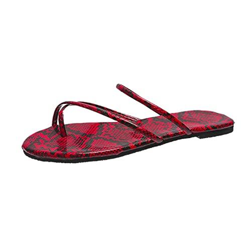 Gzhengjie Sandalias para Mujer Zapatos De Playa Ligeros Ligero Y De Fácil Cuidado para Caminar Vacaciones,Rojo,35
