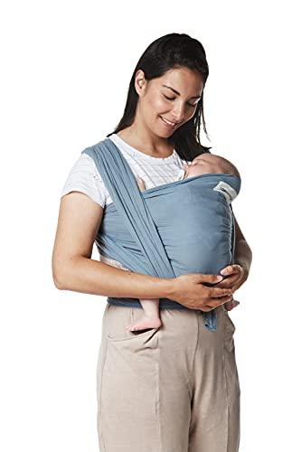 Fular portabebé elástico y ajustable, hasta 16 kg, tejido suave al tacto, porteo recién nacidos. (Azul Tifón)