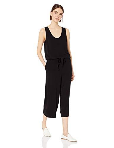 Marca Amazon - Daily Ritual: Mono sin mangas de algodón terry y pierna ancha para mujer., Negro, US M (EU M - L)