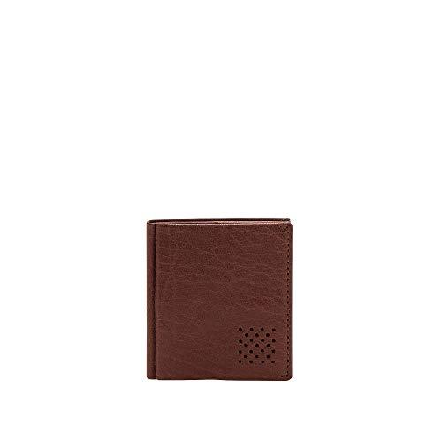 DUDU Portafoglio Uomo Vera Pelle Piccolo con Portamonete Porta Carte Tessere Tascabile Documenti Banconote Marrone
