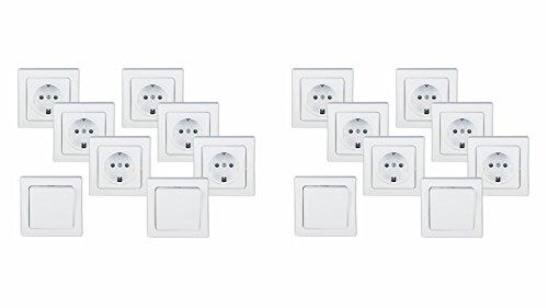 Sparpaket Delphi Starter-Set 16-teilig: 12 x Steckdose + 4 x Schalter incl. Rahmen, Schraubanschluss, weiß