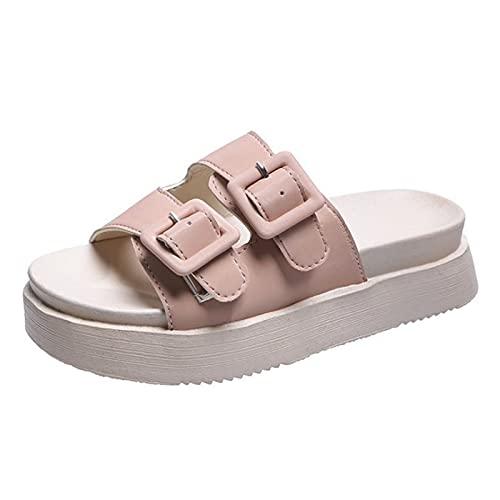 Shhyy Sandalias Planas para Mujer Comfort Diapositivas Ajustables Doble Hebilla Sandalias Interiores y Exteriores Anti-skidding Zapato Punta Abierta EVA Zapatillas,Rosado,38