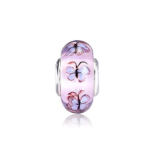 Pandora 925 colgante de plata esterlina Diy mariposa encantos de cristal Original se adapta a la pulsera Pandora de plata esterlina cuentas de mujer joyería que hace todo