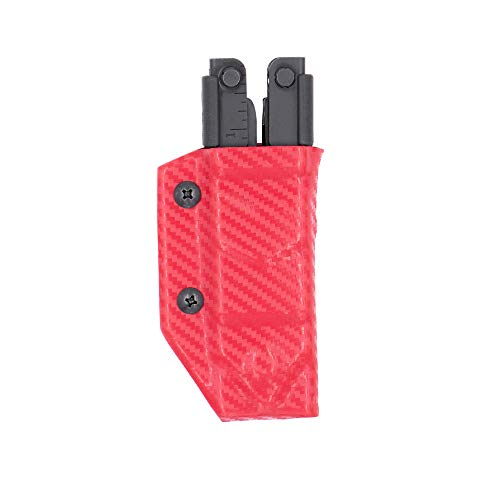 Clip & Carry Kydex Multitool Sheath for GERBER MP600 ~Fits bluntnose & needlenose models~ Made in USA (Multi-tool not included) Multi Tool Holder Holster (Carbon Fiber Red)