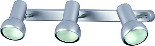 Lámpara de techo R80, 3 focos de color plateado mate, E27 hasta 75 W Soporta