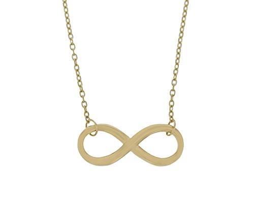 Echt goud oneindigheidsteken hanger met ketting set in 585 geelgoud sieraden 2354