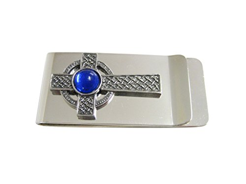Textured Large Celtic Cross with Blue Center Money Clip