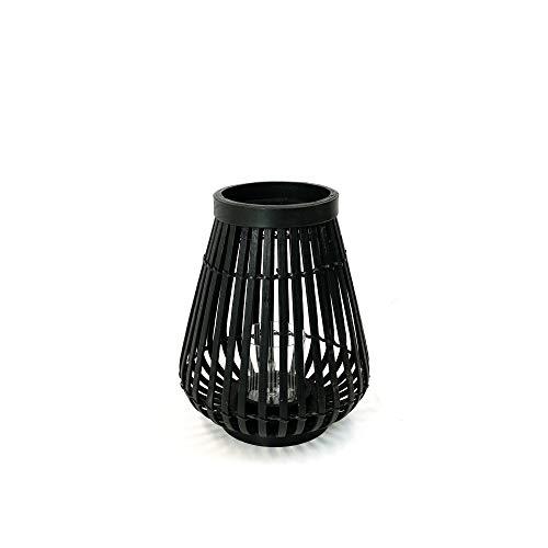 connox Collection Bambus-Rattan-Windlicht geeignet als Deko für Wohnung, Garten, Terrasse und Balkon. Kleine Bambus Laterne mit Kerzen-Glas 26 cm, schwarz