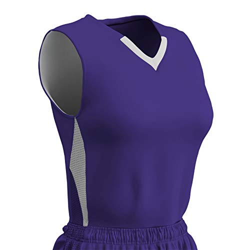 CHAMPRO Post Up Polyester Reversible Basketball Jersey, Girls' Small, Purple, White