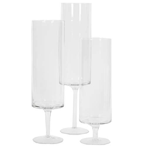 Koyal Wholesale Pillar Candle Hurricane Pedestal Holders, Tall Glass Pedestal Candle Holders Centerpiece, Wedding Glass Stem Hurricanes Set of 3 (Clear, 3.7 x 11.8, 13.7, 15.7)
