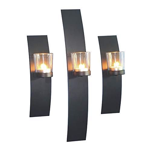Dekoratives 3'er Set Wandkerzenhalter für Teelichter Stillvolles Design aus Metall mit Glaszylinder