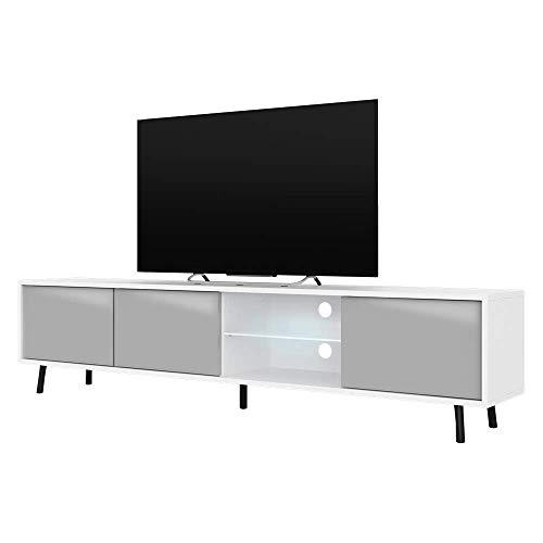 Selsey Mueble de TV, Color Blanco Mate y Gris Brillante, 175x31,3x40,5