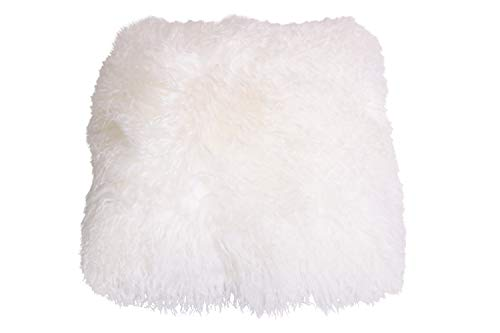 Naturasan Tibet Lambskin Cushion, Cushion Cover with Zip Made of Genuine Tibetan Lambskin, Sofa Cushion, Decorative Cushion, Cushion, Very Exclusive, 30 x 30 cm (Natural White/Ivory)