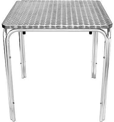Jardín/Patio palabrerío mesa cuadrada con borde curvado acero inoxidable - elegante y duradero muebles para su jardín: Amazon.es: Jardín