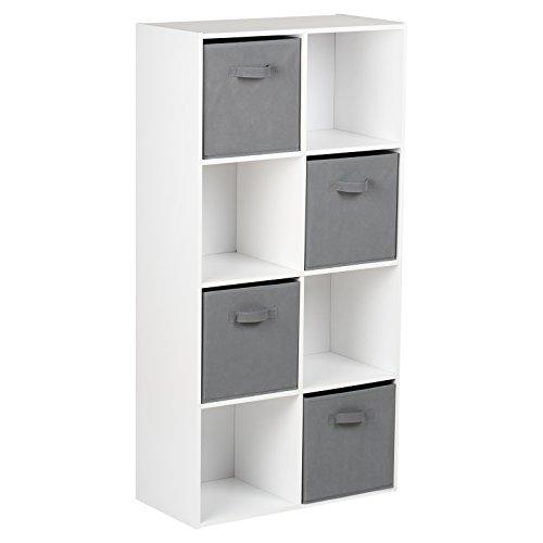 Hartleys Unité de Rangement Blanc à 8 Cubes & 4 Tiroirs de Rangement Gris