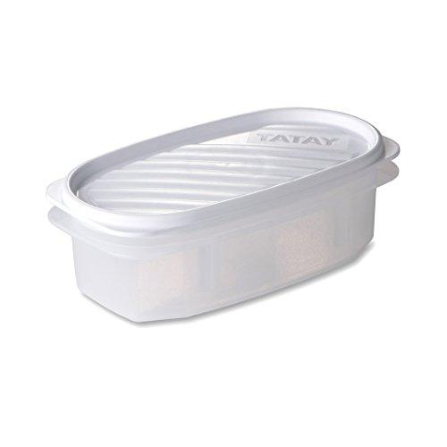 TATAY 1163001 - Contenedor De Alimentos hermético Ovalado Con Tapa Flexible a presión blanca, 0,5 litros de capacidad, 18,4 x 9,7 x 6,1