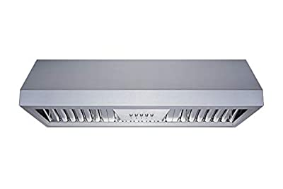 Winflo 36 In. Ducted Stainless Steel Under Cabinet Range Hood with Stainless Steel Baffle Filters and Push Button Control