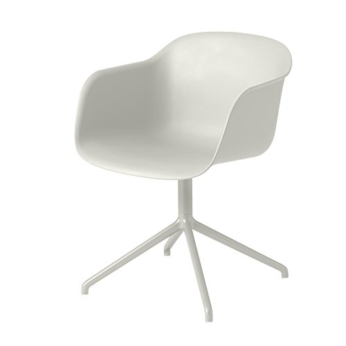 Muuto Fiber Chair Sedia girevole, natur weiß, Gestell weiß