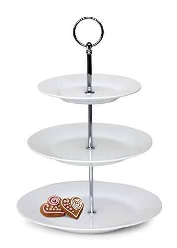 Banquet Sofia 3 étages Sweet, Support de Maintien, Porcelaine, Blanc, 23 x 23 x 4.5 cm