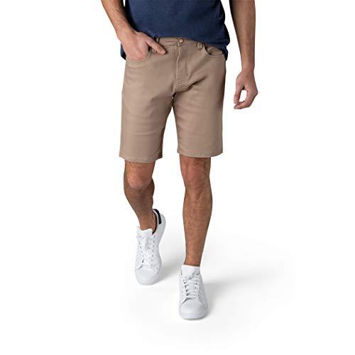 IZOD Men s Casual Stretch Knit Jean Shorts, Classic 5-Pocket Design, Classic Fit Knit Denim Shorts, 9.5  Inseam, Khaki, 32