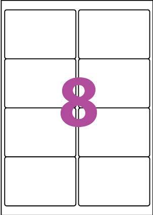 20 A4 hoja de etiqueta de papel etiqueta adhesiva 8 99,1 x 67,7 mm para las impresoras de chorro de tinta y láser