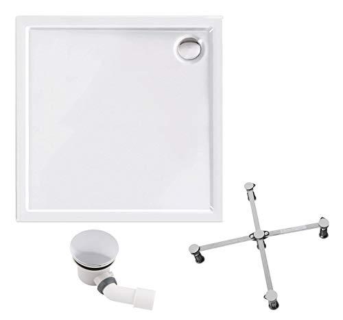 Calmwaters® - Modern Select - Kleine Duschtasse aus Acryl im Komplettset in 80 x 80 cm mit Wannenfuß & Ablaufgarnitur - 99000101