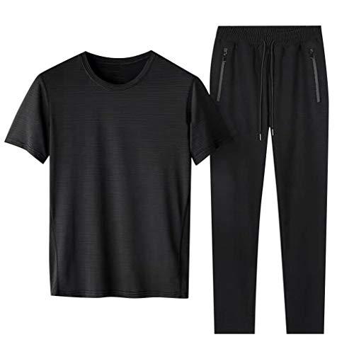 DAY8 Uomo Sport Abbigliamento Completo Sportivo Elegante Tuta Uomo Estiva Cotone Leggero Completa Tute Uomo Sportive Taglia Extra Large Sweatshirt Uomo Essentisls T-Shirt E Pantaloni (Nero, M)