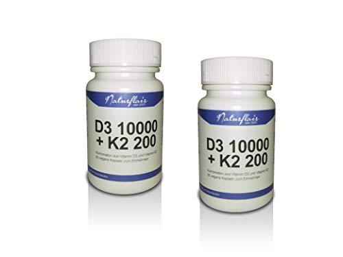 Vitamin D3 10000 I.E. (Cholecaliferol) + Vitamin K2 MK7 (natürliches Natto Menaquinon MK-7) 200mcg - 2 Dose á 90 Kapseln (180 vegane Kapseln) - Hochdosiertes Vitamin D3 + K2 - hohe Bioverfügbarkeit